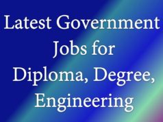 Latest Government jobs diploma degree engg