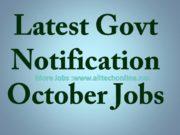 Latest Govt Notification October Jobs