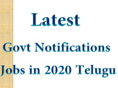 Latest Govt Notifications Jobs in 2020 Telugu