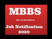 MBBS Latest Job Notification 2020
