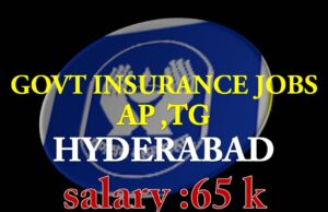 GOVT INSURANCE JOBS AP ,TG HYDERABAD