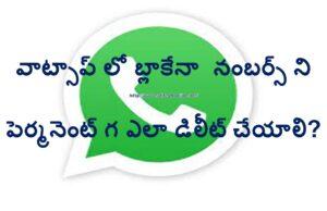 WhatsApp Blocked Numbers Delete Permanently Telugu