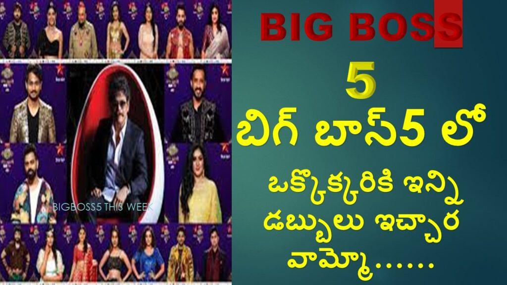 BIGBOSS5 Contestant Big Remunerations in Telugu